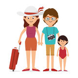 Family colorful cartoon Stock Photos