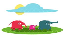 Funny Graphic Elephants Family Stock Image