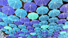 Family of colorful umbrellas stock photography