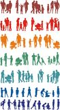 Family colourful silhouetted (vectors). Sets of families of vector colourful illustrations Stock Photography