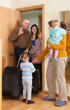 Family coming to grandmother  home Royalty Free Stock Photos