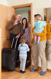 Family coming to grandmother  home Stock Image