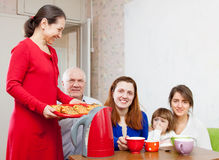 Family communicate over tea Stock Photography