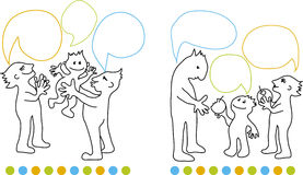 Family communication. Line illustration of family communication Stock Images