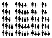 Family composition. Images of different kinds of family compositions with one and two parents Stock Illustration