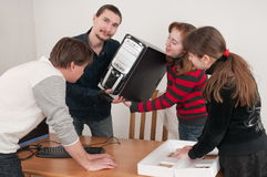 Family and the computer. Stock Photo