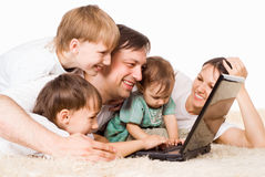 Family with computer Royalty Free Stock Photography