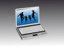 Family in the computer. Happy family inside a computer screen Royalty Free Stock Photo