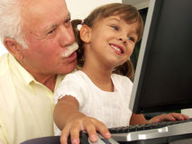 Family and computers. Stock Image