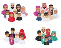 Family concept. Arab people generations at different ages. Muslim father, mother, grandmother, grandfather, son and Stock Image