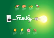 Family concept with creative light bulb idea Royalty Free Stock Photos
