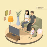 Family concept. Flat 3d isometric design of family concept Royalty Free Stock Photography
