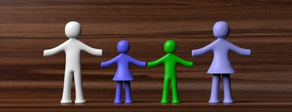 Colorful human figures holding hands isolated on wooden background. 3d illustration. Family concept. Four colorful human figures isolated on wooden background Stock Image