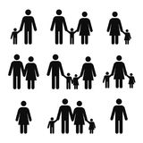 Family concept icons. Mother, father, son and daughter pictograms. People stick figure symbols. Adult couple with children. Single man and woman. Vector royalty free illustration