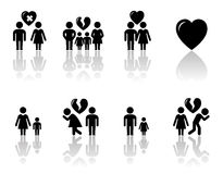 Family concept icons with reflection Stock Images