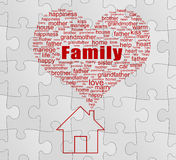 Family Concept. Love Tag cloud and dream house. On gray puzzle background stock photos