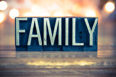 Family Concept Metal Letterpress Type Royalty Free Stock Images