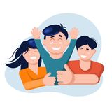 Family concept. Mother and father hold son stock illustration