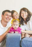 Family Concept: Natural Portrait of Happy Caucasian Family Get T Royalty Free Stock Image