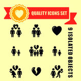 Family concept quality icon set. With red tape accent Stock Photo