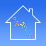 Family Concept. Virtual dream house with text FAMILY on blue background stock photography