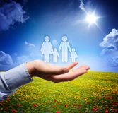 Family concept in your hand. Serene scene stock images