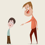Family conflict. Aggressive man threats and shouts on oppressed boy in anger. Stock Photography