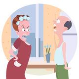 Family conflict cartoon. Comic illustration of wife and husband quarreling at home Royalty Free Stock Image