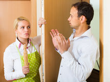 Family conflict at the door Stock Image