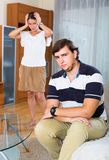 Family conflict at home. Unhappy young family having serious conflict at home Royalty Free Stock Photo