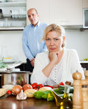 Family conflict in kitchen Stock Photography