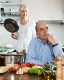 Family conflict in kitchen Royalty Free Stock Photo