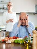 Family conflict in kitchen Royalty Free Stock Photography