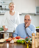Family conflict in kitchen Royalty Free Stock Photos