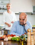 Family conflict in kitchen Stock Photos