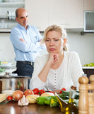 Family conflict in kitchen Stock Images
