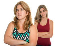 Family conflict - Sad mother and her teen daughter Royalty Free Stock Image