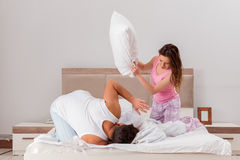 The family conflict with wife husband in bed Stock Image