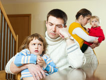 Family conflict. Young wife having conflict with husband at home Royalty Free Stock Image