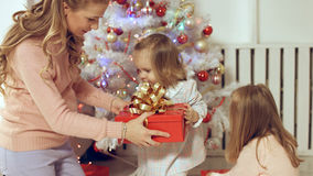Family consists of the females sitting around the Christmas tree with gifts. Family consists of females sitting around the Christmas tree with gifts Royalty Free Stock Photo