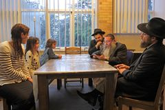Family conversion to Judaism by Jewish rabbinic court of law stock image