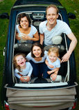 Family in convertible  Royalty Free Stock Photography