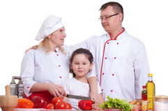 Family cooking. Making a meal, white background Stock Image