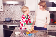 Family cooking at christmas time Stock Image