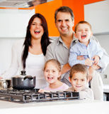 Family cooking dinner Royalty Free Stock Photos