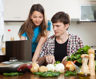 Family cooking food Royalty Free Stock Image
