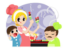 family cooking food - vector Stock Photography