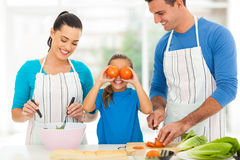 Family cooking kitchen. Happy young family cooking in kitchen at home Royalty Free Stock Photo