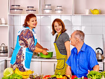 Family  cooking at kitchen Royalty Free Stock Image