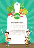 Family cooking meal kitchen menu design template.Cute little chef cooking meal men vector illustration